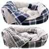 Flannel Dog Bed with Bone and Blanket