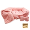 Plush Faux Fur Dog Bed with Bone and Blanket