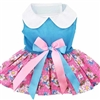 Pink and Blue Plumeria Small Dog Dress