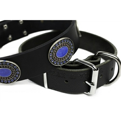 Blue Silverado Leather Large Dog Collar