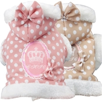 Polka Dot Couture Hooded Dog Sweater Coat