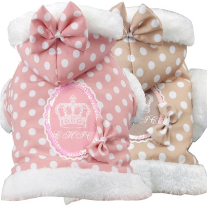 Polka Dot Couture Hooded Dog Coat