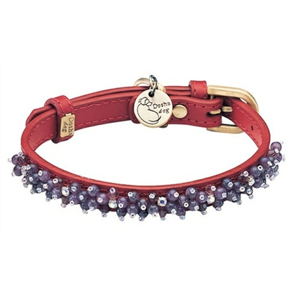 Amethyst Beaded Leather Small Dog Cat Collar