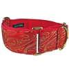 Martingale Dog Collar | Red Paisley Silk