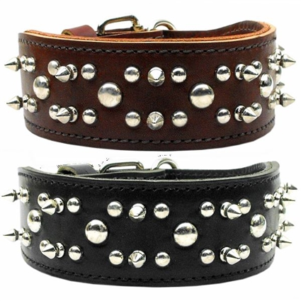 Rodeo Leather Dog Collars with Spikes, Studs