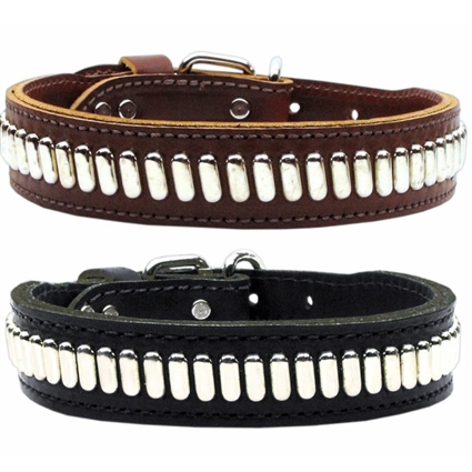 Comet Studded Leather Designer Dog Collar