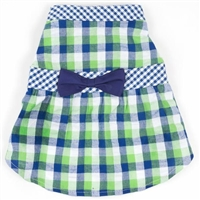 Navy Plaid Seersucker Dog Dress