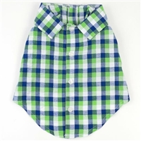 Navy Plaid Dog Shirt