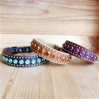 Rhinestones and Small Studs Leather Dog Collar