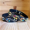 The Glow Studs and Rhinestones Leather Dog Collar