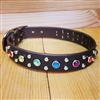 Rhinestone Rainbow Genuine Leather Dog Collar