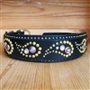 Paisley Pooch Studded Rhinestones Leather Dog Collar