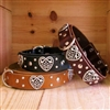Celtic Hearts and Studs Fancy Leather Dog Collar