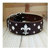 Fleur-De-Lis Leather Dog Collar