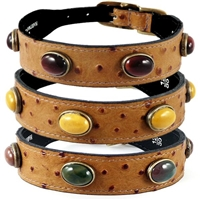 Jasper and Faux Ostrich Leather Dog Collars
