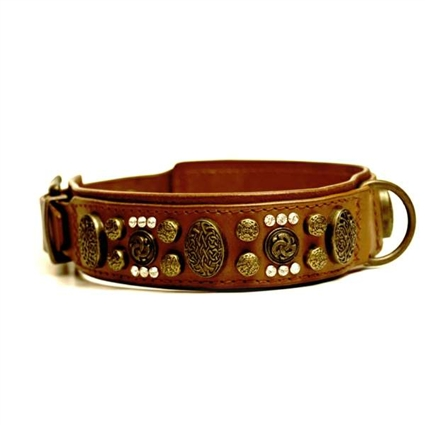 Royal Antique Leather Designer Dog Collar