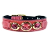 Petal Pink Leather Designer Dog Collar