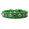 Nautical Blue and Green Bling Leather Dog Cat Collars