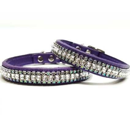 Purple Leather Cat Collar | Paradise Bling