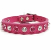 Pink Leather Designer Small Dog Cat Collar