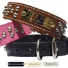 Personalized Leather Dog Collar with Studs - Tapered