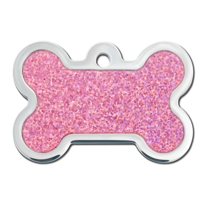 Dog ID Tags | Pink Sparkle Bone | Personalized, Engraved