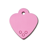 Designer Dog Cat ID Tags | Pink Heart with Pink Crystals