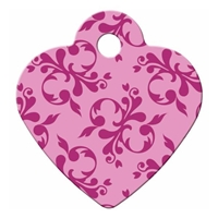 Dog Cat ID Tags | Pink Scroll Heart | Personalized, Engraved