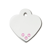Designer Dog Cat ID Tags | Small Heart Pink Crystals