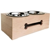 Raised dog bowls | Wooden Bone Double Dog Bowl Feeder