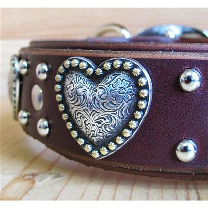 Big Girls Heart Leather Large Dog Collar