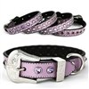 Purple Bling Western Leather Dog Collars