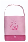 Sassi Designs BAL-05Pink Ballet Tote(Pink) With Bottom Shoe Compartment-Embroidered Shoes & Ribbons