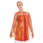 Eurotard Plus Size Flame of Fire Split Layer Tunic