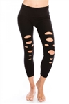 Calf Length Slashed Leggings - You Go Girl Dancewear