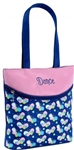 "Sassi Designs BFL-01 Butterfly small tote with screen printed design and embroidered ""Dance"""