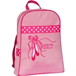 Sassi Designs CPK-03 Sweet Delight BACKPACK  in pink with pointe shoes, ribbons & Dance embroidered