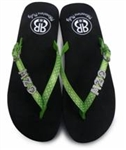 Sugar & Vine Personalized Flip Flops - Lime Polka Dot