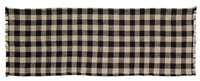 Burlap Black Check Table Runner 36""