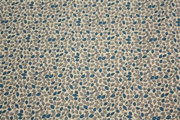"White/Azure Blue Tiny Leaves Shirting, 57"" wide"
