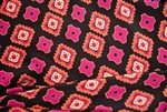 "Black and Pink Geometric Print Silk, 45"" wide"