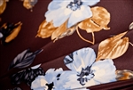 "Brown & Blue Floral Silk, 45"" wide"