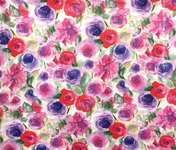 "Mixed Ranunculus Print Knit, 58"" wide"
