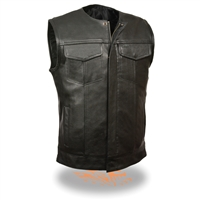Men's Vest w/ Concealed Snaps, Hidden Zipper, w/o Collar