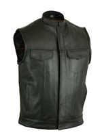 Men's Vest w/ Concealed Snaps, Hidden Zipper, with Collar