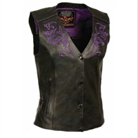 Women's Vest w/ Reflective Tribal Design & Piping