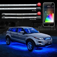 "XKGLOW 8pc 24"" Under Glow and 6pc 10"" Flexible Strip XKchrome App Control Car LED Accent Light Kit"