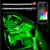 "XKGLOW 6pc 10"" Flex Strips Million Color XCHROME Smartphone App Controlled Undercar Kit"
