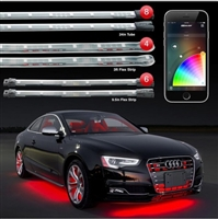 "XKGLOW 8pc 24"" Tubes, 6pc 10"" Interior Strips, 4pc 3ft Wheel Light XKchrome App Control LED Kit"