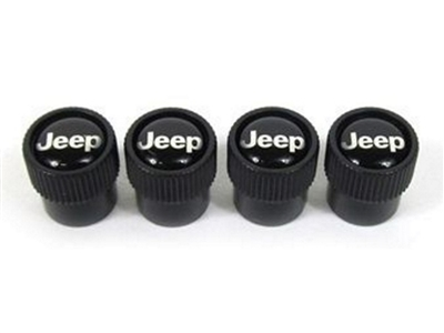 Wheel Valve Stem Caps Black W/ Jeep Logo - 82214622